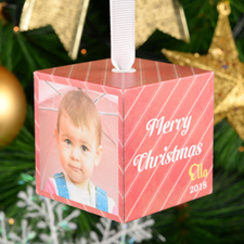 "Christmas Stripes Personalized Wood Photo 2"" Cube"