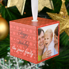 "Christmas Star Personalized Wood Photo 2"" Cube_copy"