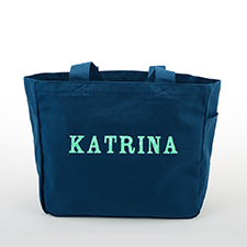 Glitter Text Personalized Cotton Tote Bag, Navy