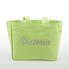 Custom Glitter Text Canvas Tote Bag, Baby Green
