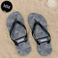 Grey Triangle Personalized Flip Flops, Men Medium