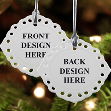 Custom Font and Back Full Color Oval Filigree Landscape Ceramic Ornament