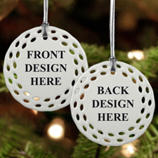 Custom Front and Back Full Color Ceramic Round Filigree Ornament