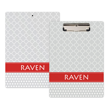Grey Quatrefoil and Polka Dot Personalized Clipboard