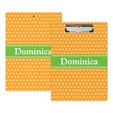 Orange Polka Dot Personalized Clipboard