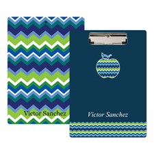 Navy Chevron Apple Personalized Clipboard for Teacher