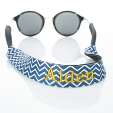 Navy Chevron Monogrammed Embroidery Sunglass Strap Croakies