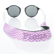 Lavender Chevron Monogrammed Embroidery Sunglass Strap Croakies