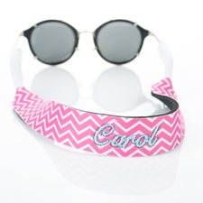 Hot Pink Chevron Embroidery Monogrammed Sunglass Strap Croakies
