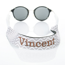 Grey Chevron Embroidery Monogrammed Sunglass Strap Croakies