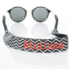Black Chevron Embroidery Monogrammed Sunglass Strap Croakies