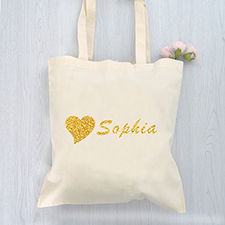 Glitter Heart Personalized Message Cotton Budget Tote Bag