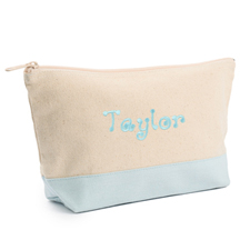 2-Tone Blue Embroidered Cosmetic Bag