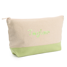 2-Tone Lime Green Embroidered Cosmetic Bag