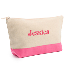 2-Tone Hot Pink Embroidered Cosmetic Bag