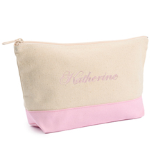 2-Tone Pink Embroidered Cosmetic Bag