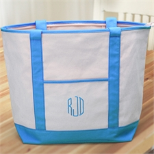 3 Initials Large Embroidered Canvas Tote Bag, Aqua