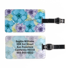 Watercolor Floral Landscape Personalized Luggage Tag