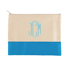 Embroidered Cosmetic Bag in Aqua Trim, Large
