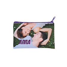 5x8 Custom Imprint Glitter Text Cosmetic Bag, Purple Zipper (Custom 2-sides)
