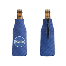 Navy Grid Personalized Bottle Cooler