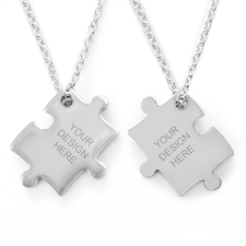 Personalized Engraved Puzzle Necklace, Custom Front and Back