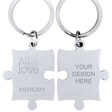 Love Quote Personalized Engraved Puzzle Keychain
