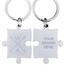 Engraved Wedding Arrow Custom Name Puzzle Keychain