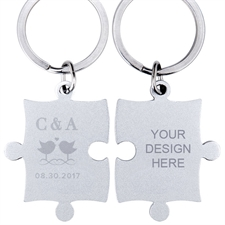 Love Birds Custom Engraved Puzzle Keychain