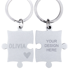 Heart Personalized Engraved Puzzle Keychain