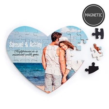Personalized Images and Message Heart-Shaped Magnetic Puzzle