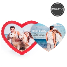 Personalized Photo Heart-Shaped Magnetic Puzzle with Red Frame