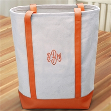 Personalized Medium Embroidered Tote Bag, Orange