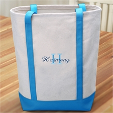 Name & Initial #1 Personalized Lime Aqua Canvas Tote Bag (Medium)