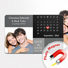 Personalized Fridge Large Calendar Save The Date Photo Magnet, Initial Black