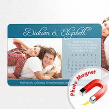 Personalized Fridge Large Calendar Save The Date Photo Magnet, Romantic Blue