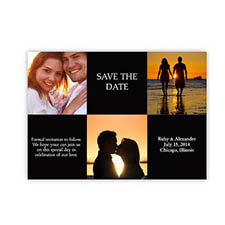 Tie the Knot Cards, 3 Photo Collage Black