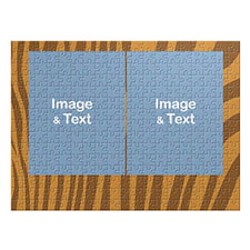 Two Collage Photo Jigsaw, Tiger Skin Pattern