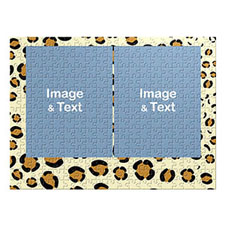 Two Collage Photo Jigsaw, Leopard Skin Pattern