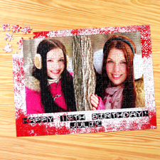 Two Collage Photo Jigsaw, Modern Red Texture