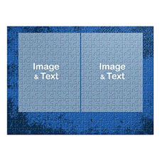 Two Collage Photo Jigsaw, Royal Blue Texture