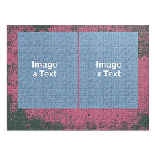 Two Collage Photo Jigsaw, Hot Pink Texture