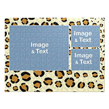 Three Collage Photo Puzzle, Leopard Skin Pattern