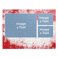Three Collage Photo Puzzle, Modern Red Texture