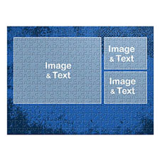 Three Collage Photo Puzzle, Royal Blue Texture