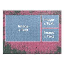 Three Collage Photo Puzzle, Hot Pink Texture