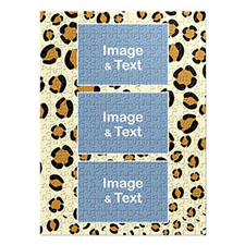 Three Collage Portrait Puzzle, Leopard Skin Pattern