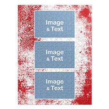 Three Collage Portrait Puzzle, Modern Red Texture