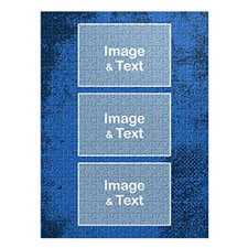 Three Collage Portrait Puzzle, Royal Blue Texture