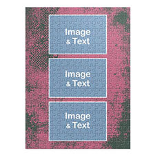 Three Collage Portrait Puzzle, Hot Pink Texture